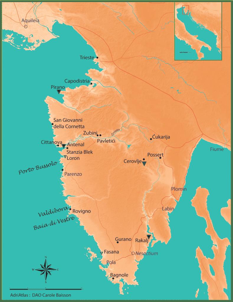 Carte de l'istria avec la localisation des sites dont parle l'article