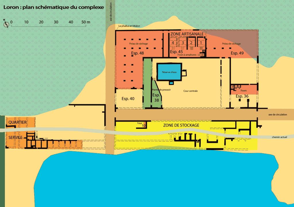 Plan schématique de l'atelier de Loron (d'après Jean-Courret 2010, 24).