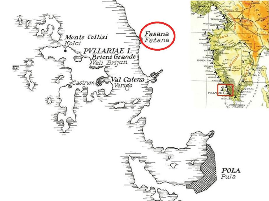 Location of the Laecanius and Emperor amphora production (Fažana).