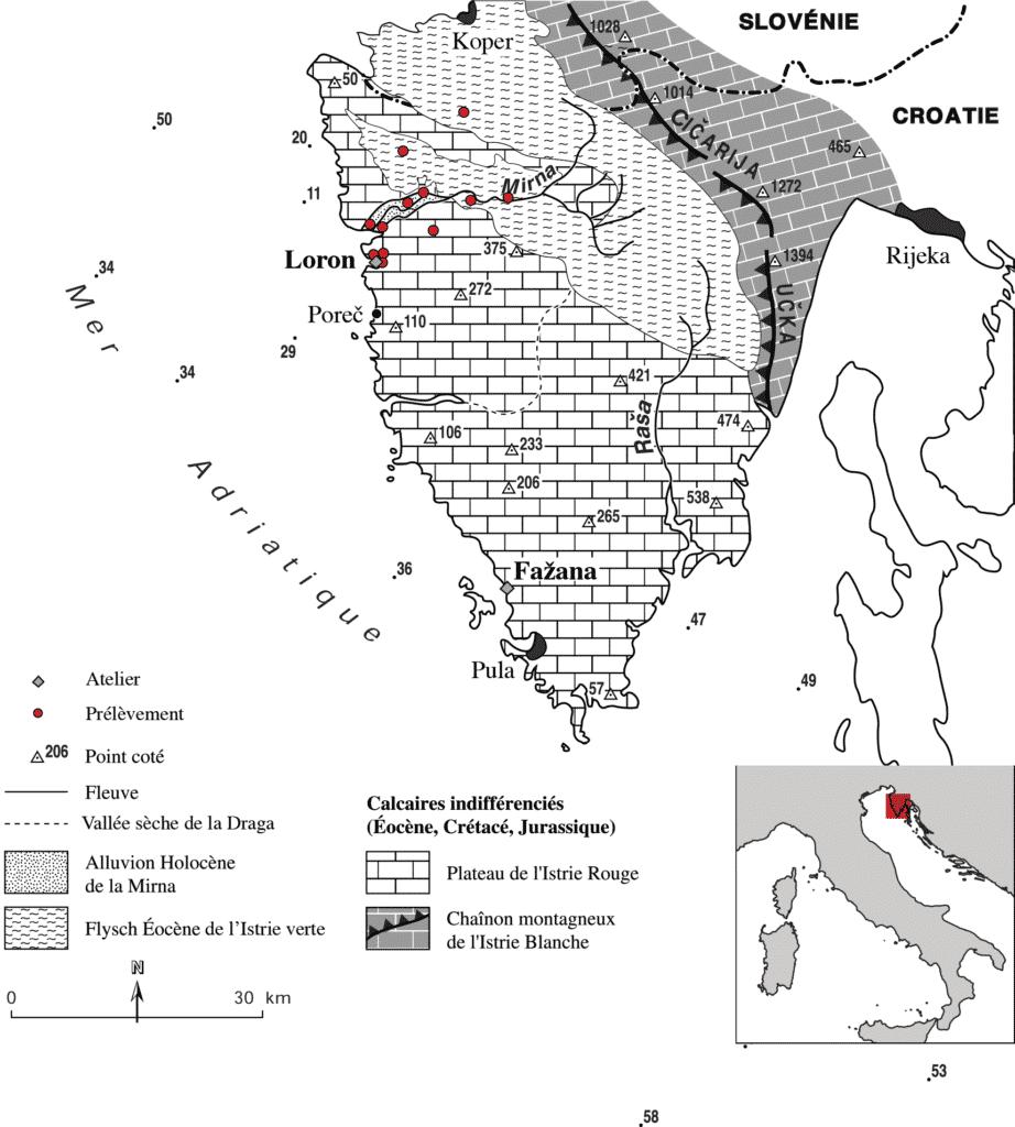 Carte morphostructurale simplifiée de l'Istrie (d'après Fouache 2001, 13) où sont figurés la localisation des ateliers de Loron et Fažana et les points de prélèvement d'échantillons de sédiments.