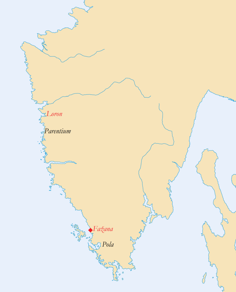 The two investigated figlinae (in red), near Pola and Parentium – Istria, Northern Adriatic.