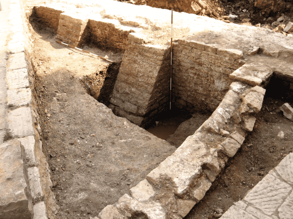 The remains of the western wall of the roman cistern.