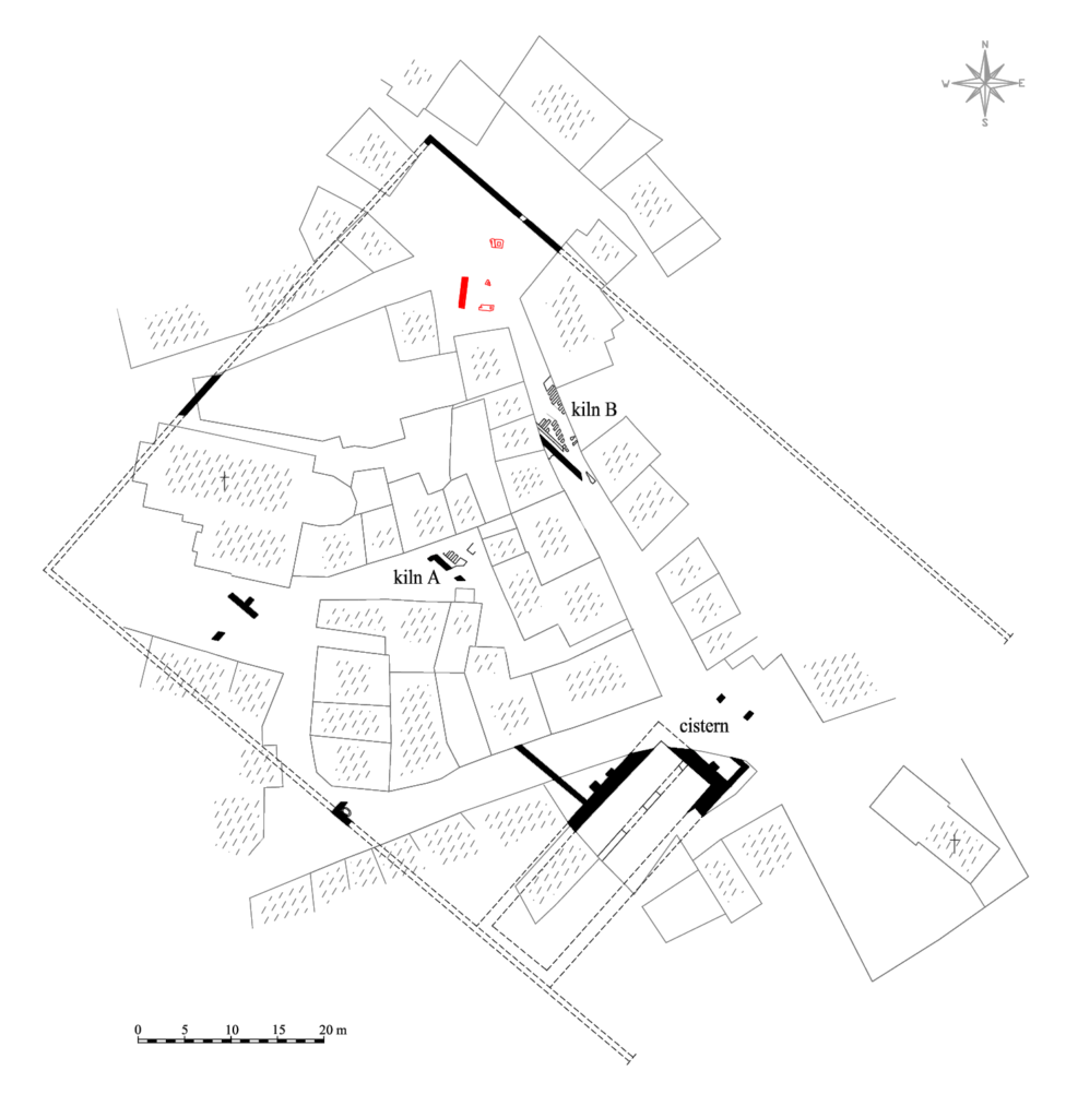 Layout of the figlina in Fažana on the cadastral base.
