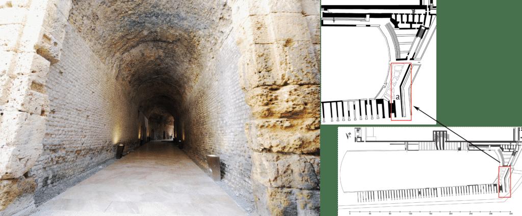 Pianta con dettaglio del settore sud-orientale conservato e dell'ambiente voltato che conduce dalla facciata meridionale del circo alla Porta Triumphalis.
