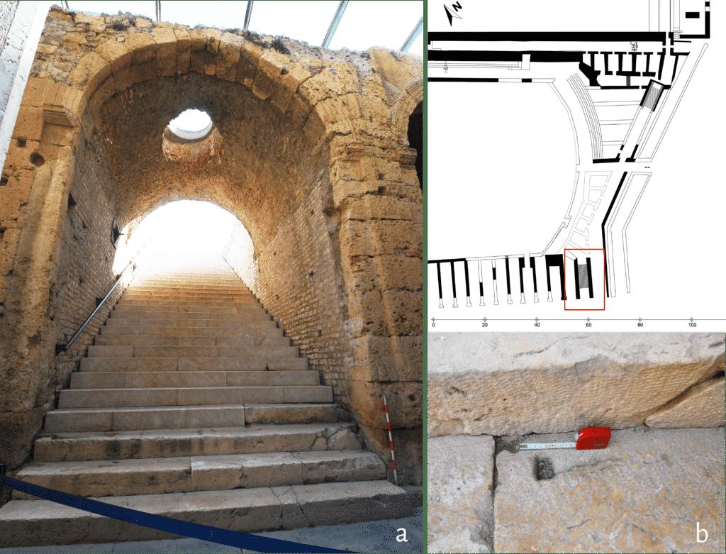 a. Scalinata di accesso alla gradinata del settore meridionale del circo; b. dettaglio dell'incasso per porta o cancellata.