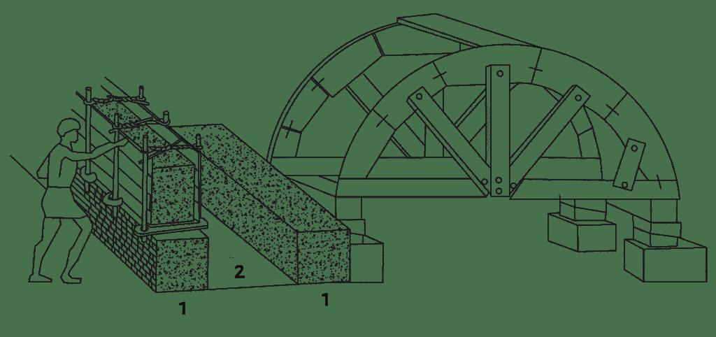 """Disegno ricostruttivo delle fasi edilizie per la realizzazione dell'ambiente """"a"""" (disegno autore)."""