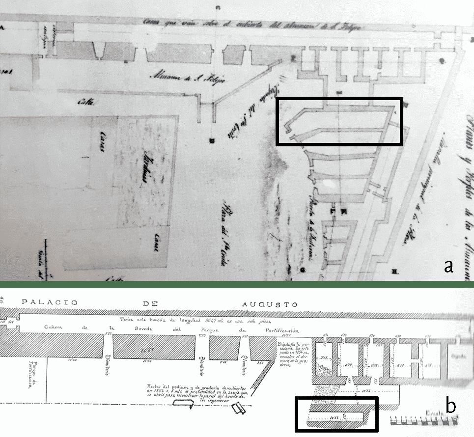 a. Planimetria del settore orientale del circo realizzata da J. F. Silvy nel 1748 (da Dupré et al. 1988, 29, fig.2); b. planimetria realizzata da Hernández Sanahuja prima del 1879 (da Nogués 1952).