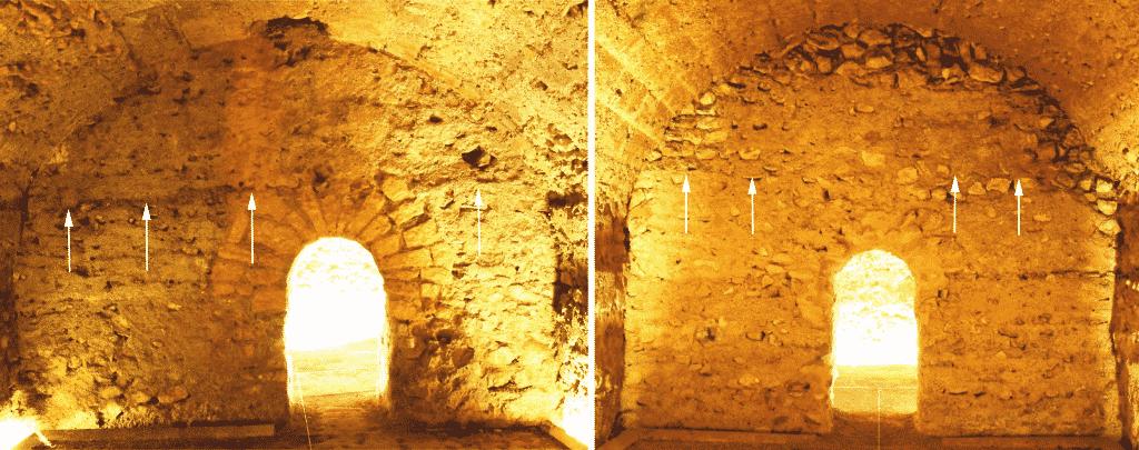 """Paramento settentrionale dell'ambiente """"c"""" (a sinistra) ed """"e"""" (a destra) in cui si distingue la fattura della parte superiore della muratura con scarso uso di malta."""