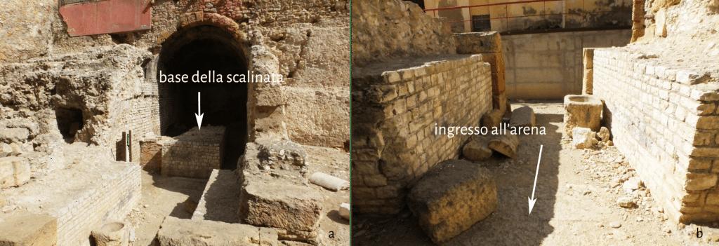 Ex Casa dels Militars: a. ambiente che corre in senso nord-sud con resti del basamento della rampa di scale; b. ingresso dall'arena del circo.