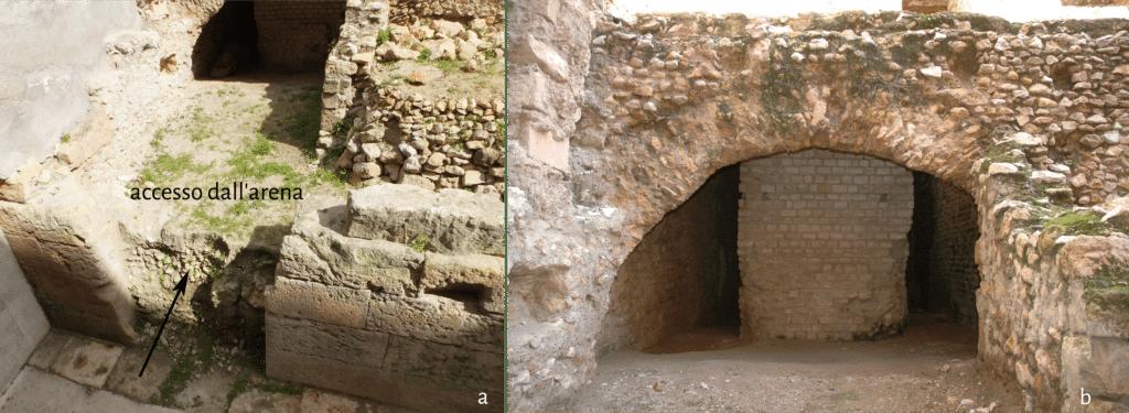 Ex Casa dels Militars: a. porta di accesso dall'arena del circo; b. basamento della scalinata che conduce alla praecintio tra ima e summa cavea.