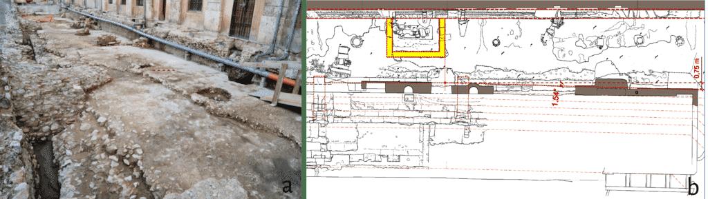 Resti della piattaforma superiore del circo o visorium con dettaglio della struttura a pianta rettangolare rinvenuta in negativo.