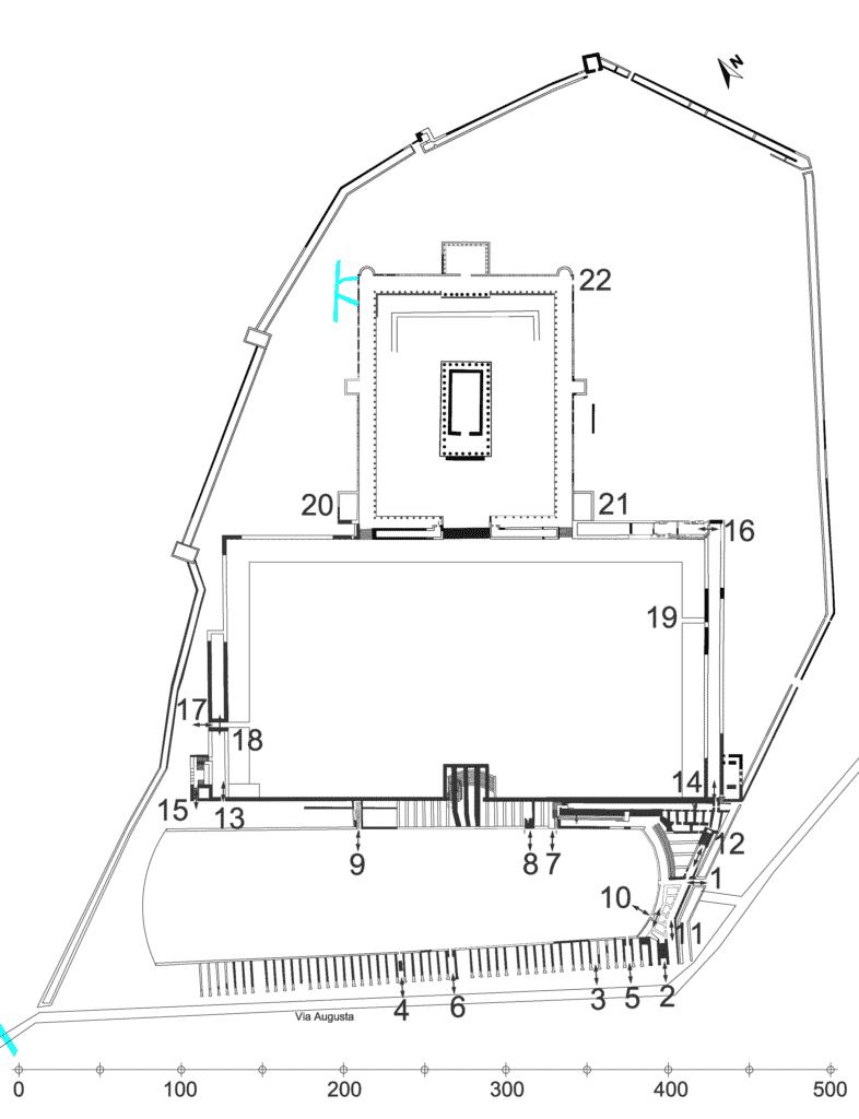 Planimetria ricostruttiva del Foro Provinciale con segnalazione dei punti di accesso.