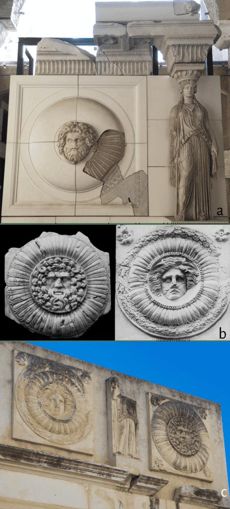 a. Roma, ricostruzione dell'attico del Foro di Augusto; b. Merida, frammenti dei clipei; c. Merida, ricostruzione dell'attico del cosiddetto portico del foro.