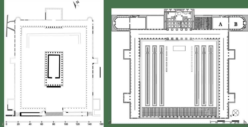 a. Tarragona, ricostruzione planimetrica della terrazza superiore del Foro Provinciale; b. Roma, planimetria del Foro della Pace.
