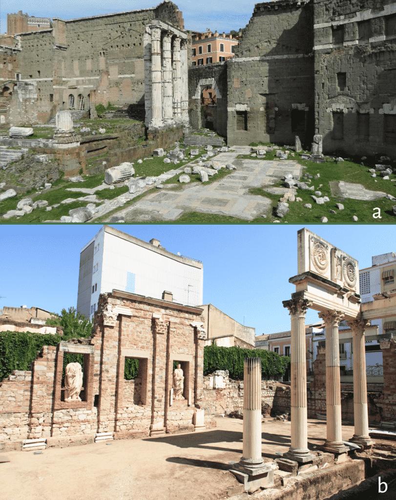 Roma, Foro di Augusto con dettaglio delle nicchie; b. Merida, nicchie del cosiddetto portico del foro.