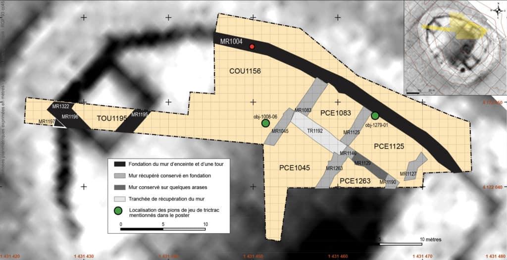 Contexte de découverte des deux pions de jeu à décor figuratif découverts sur le site du Castéra (Langoiran) (DAO C. Coutelier, M. Martinaud, S. Faravel).