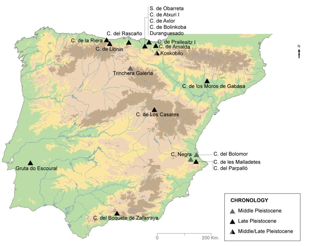 Geographic location of the Iberian fossil dholes cited in the text.