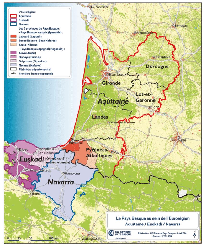Carte du Pays basque au sein de l'euro-région Aquitaine, Euskadi, Navarre