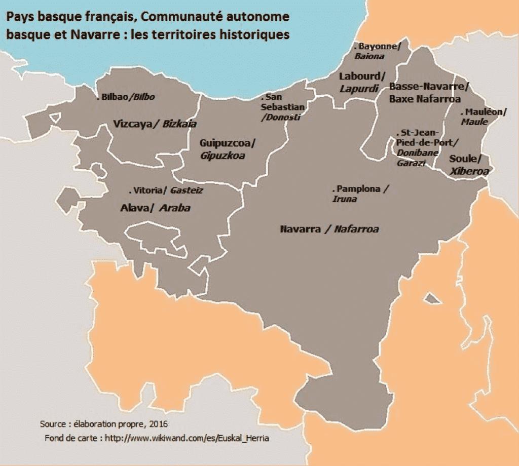 Carte des territoires historiques du Pays basque français, de la Communauté autonome basque et de la Navarre