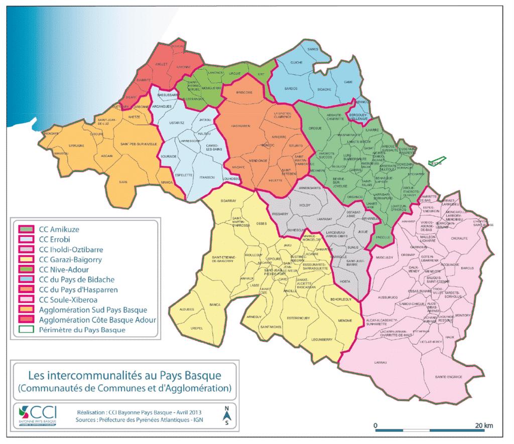 Carte des dix intercommunalités du Pays basque français en 2016