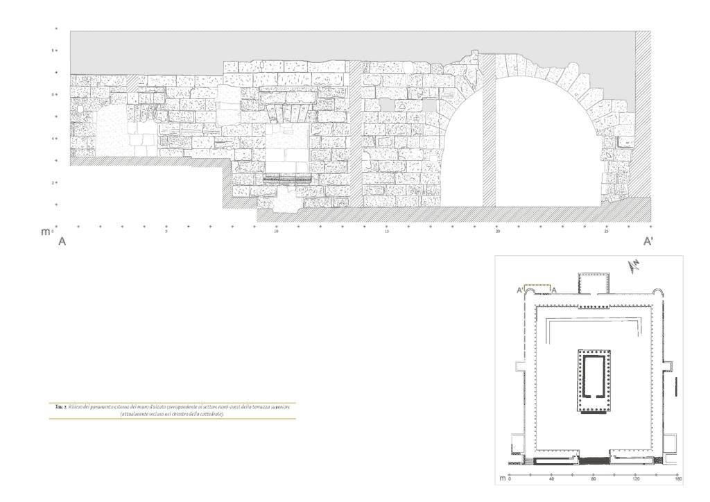 Rilievo del paramento esterno del muro d'alzato corrispondente al settore nord-ovest della terrazza superiore (attualmente incluso nel chiostro della cattedrale).