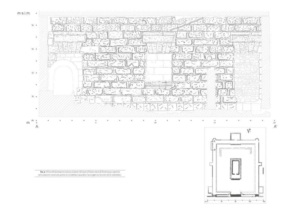 Rilievo del paramento esterno di parte del muro d'alzato ovest della terrazza superiore (attualmente conservato presso la cosiddetta Casa dels Canonges nel chiostro della cattedrale).