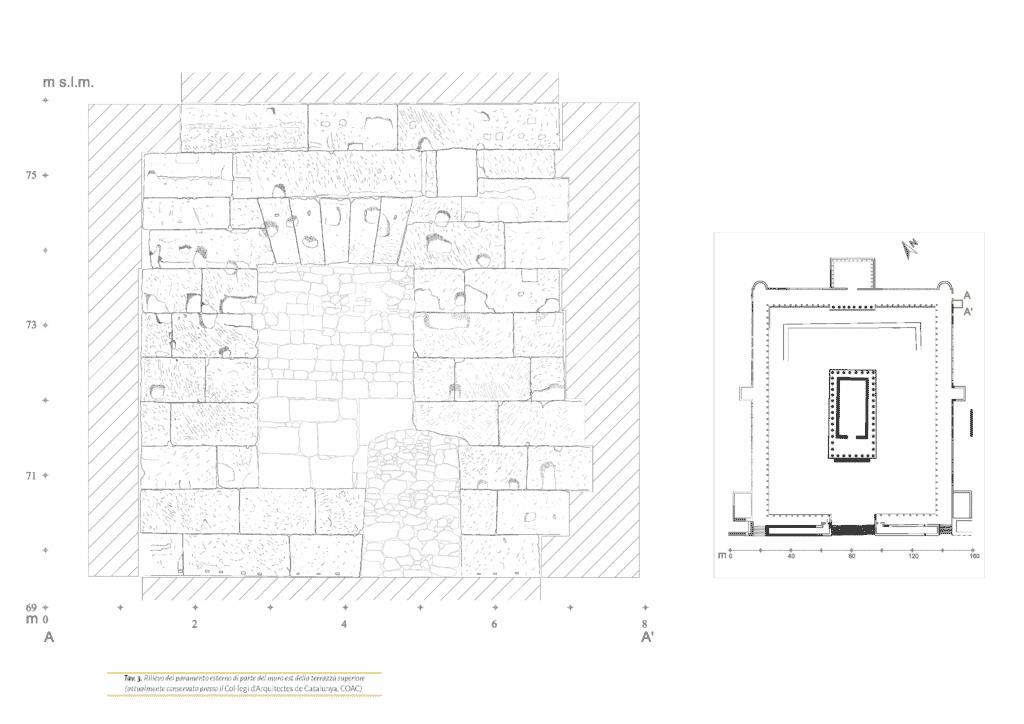 Rilievo del paramento esterno di parte del muro est della terrazza superiore (attualmente conservato presso il Col·legi d'Arquitectes de Catalunya, COAC).