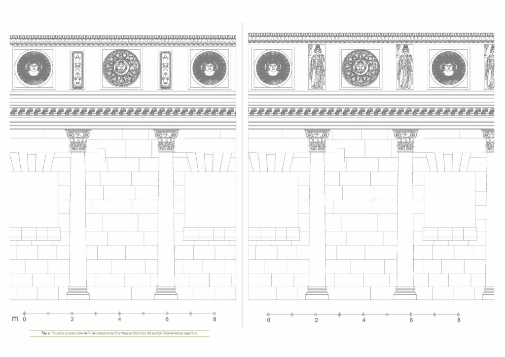 Proposta ricostruttiva della decorazione architettonica dell'attico del portico della terrazza superiore.