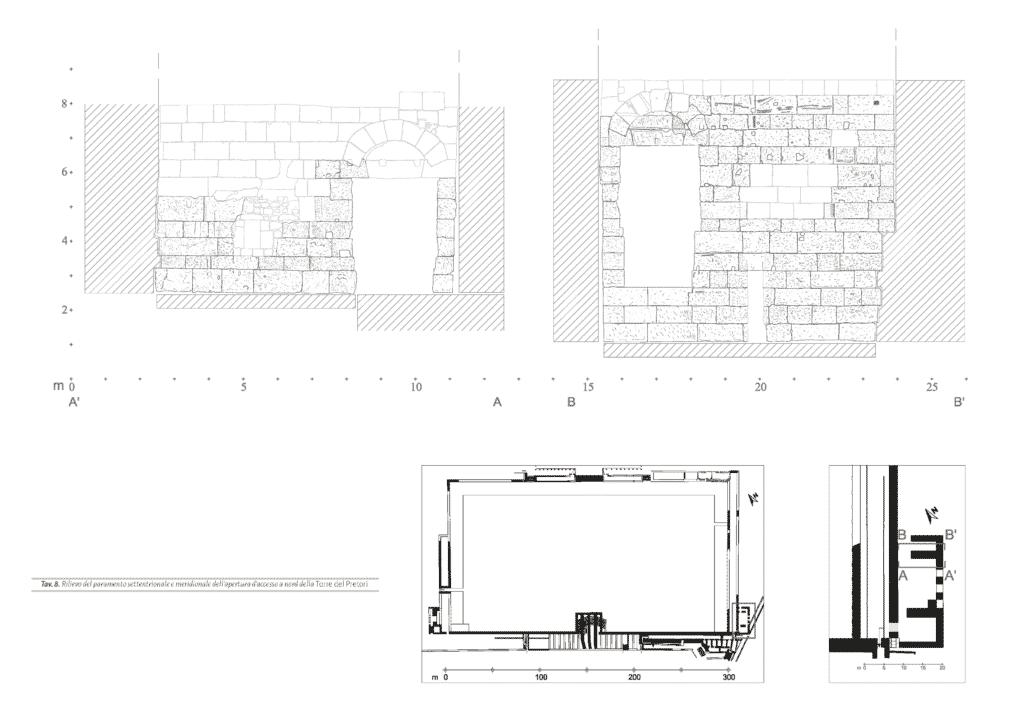 Rilievo del paramento settentrionale e meridionale dell'apertura d'accesso a nord della Torre del Pretori.