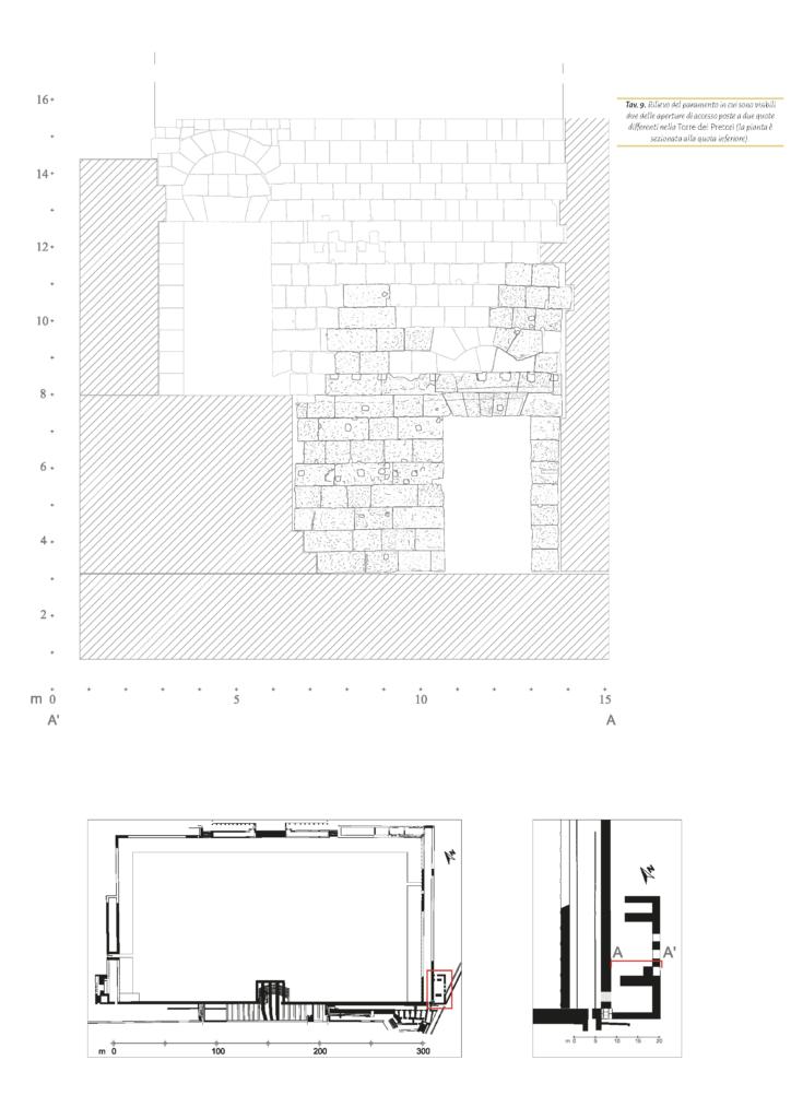 Rilievo del paramento in cui sono visibili due delle aperture di accesso poste a due quotedifferenti nella Torre del Pretori