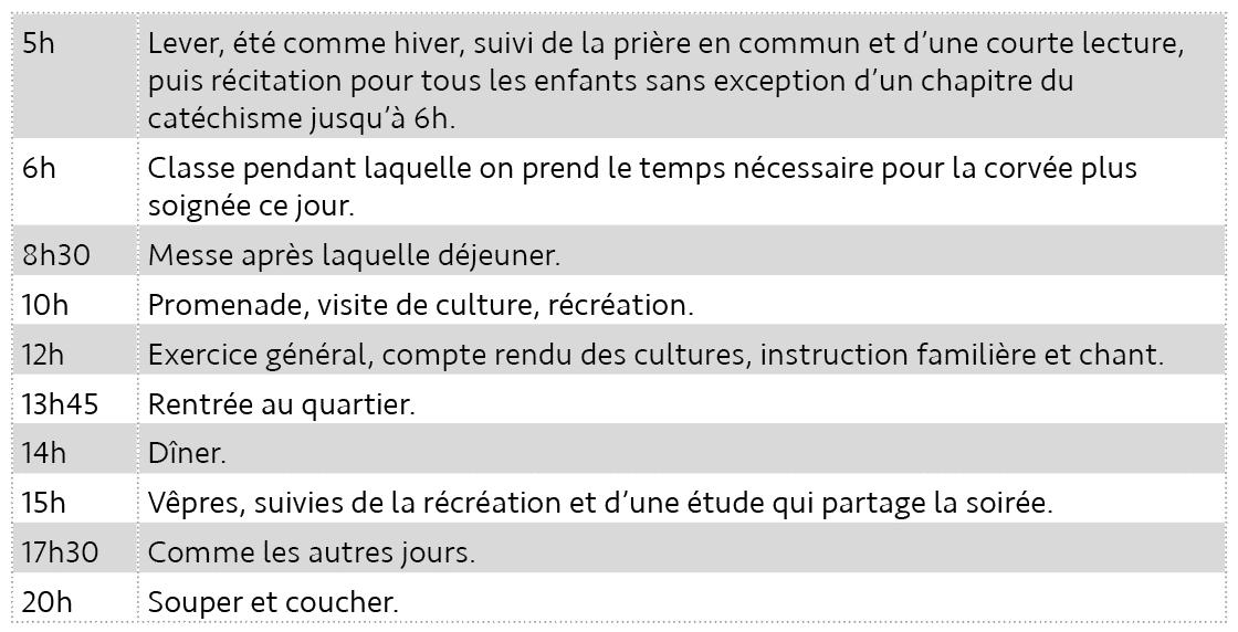 Tableau 7. Emploi du temps à Saint-Louis. c. Pour le dimanche et fêtes (article 92).